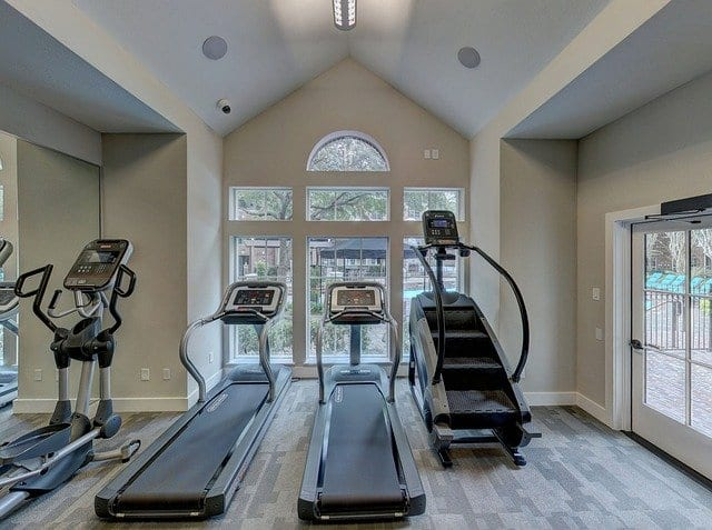 A home gym with treadmills.