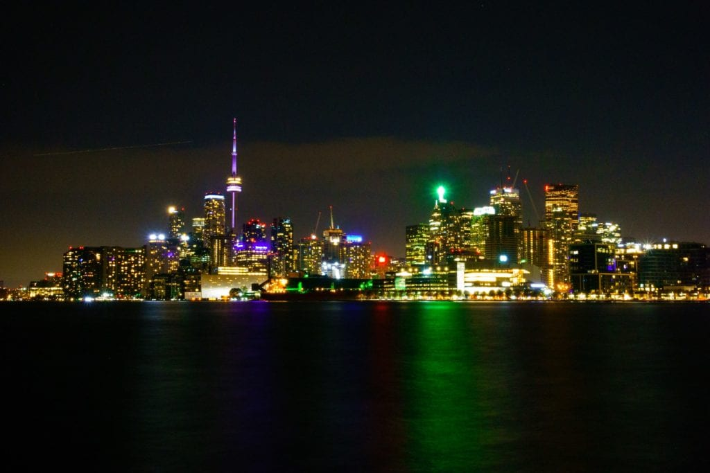 skyline of Toronto over the river at night