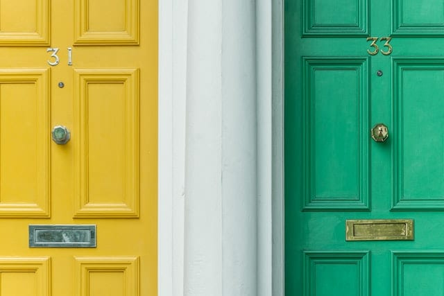 A yellow and a green door.