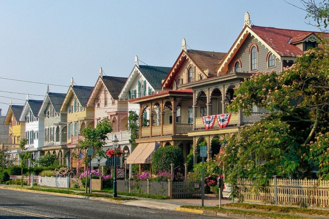A row of houses in Cape May, one of the small towns in New Jersey